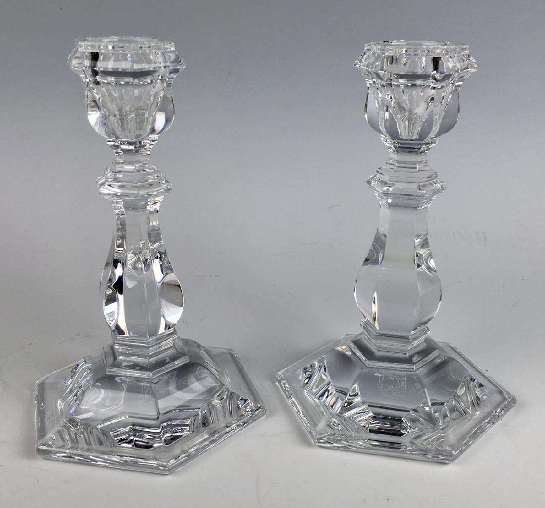 Pair of Baccarat Crystal Short Candlesticks