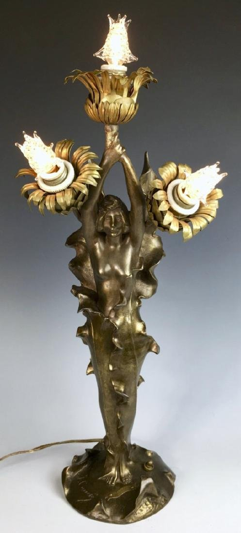 Art Nouveau Semi Nude Figural Lamp Sgd. J. Causse