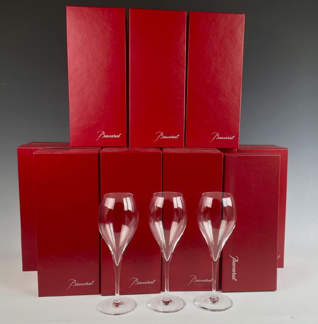 11 Baccarat Champagne Flutes with Box