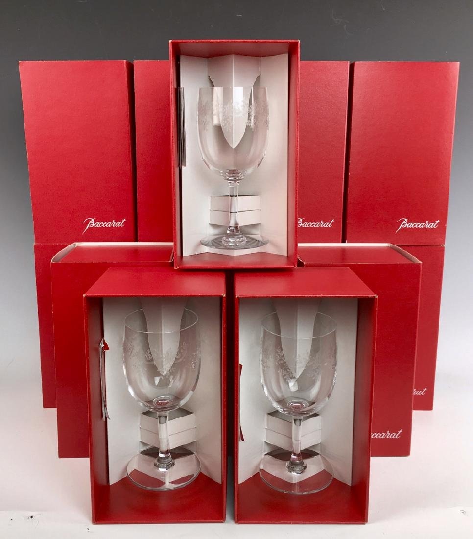 """14 Baccarat """"Sevigne"""" Wine or Water Glasses w/Box"""