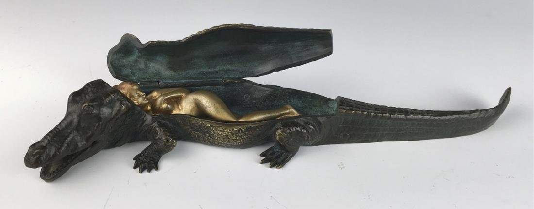 Bergman Austrian Bronze Alligator w/ Hidden Nude