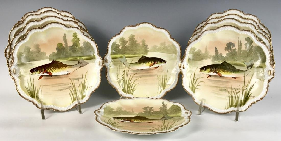 Set of 10 Hand Painted Limoges Fish (Trout) Plates