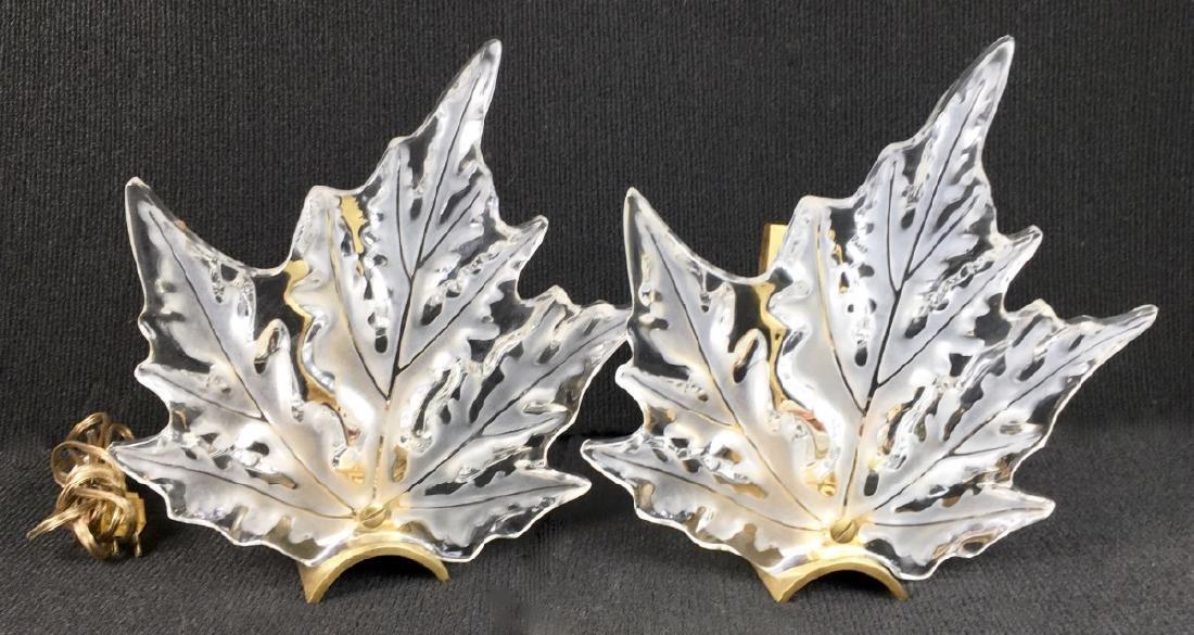 Pair Lalique Leaf Wall Sconces