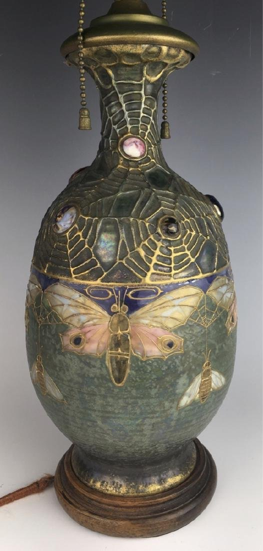 "Amphora ""Semiramis"" Moth Lamp C. 1900"