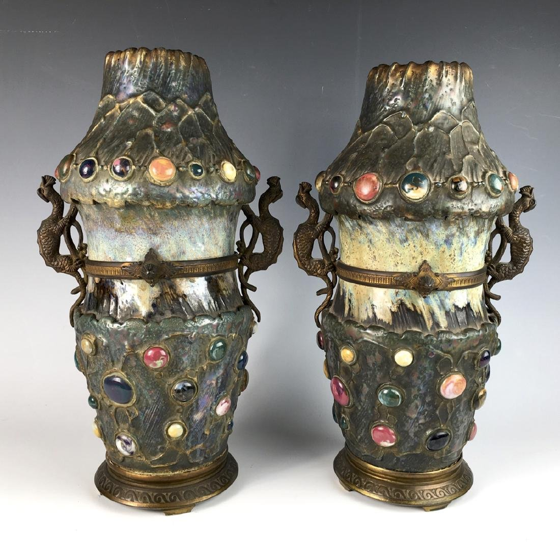 """Rare Pair Amphora """"Gres Bijou"""" Vases"""