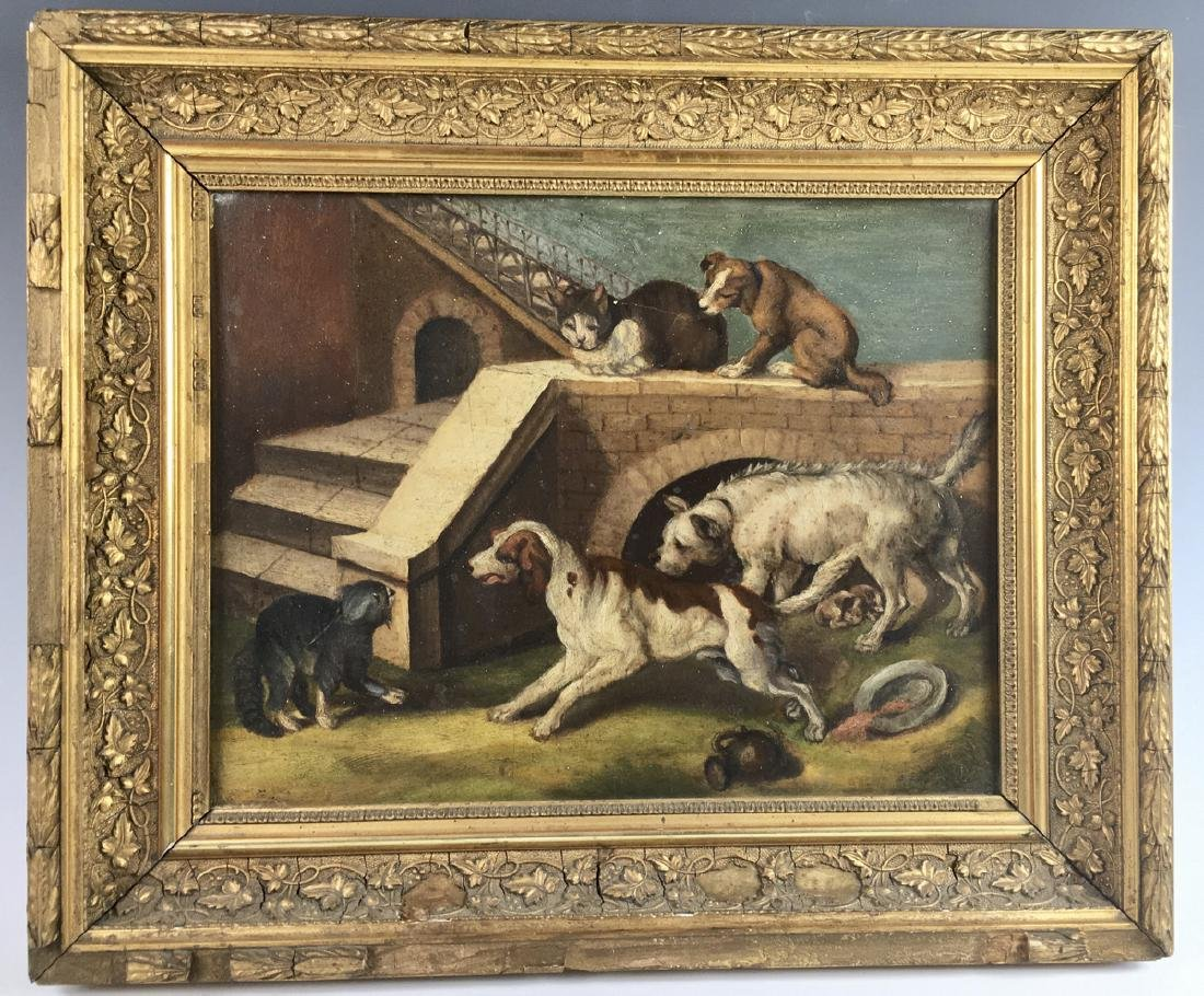Group of Dogs & Cats Painting C. 1880