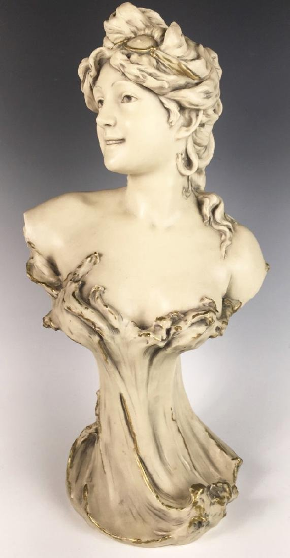 Royal Dux Porcelain Bust Art Nouveau Lady C. 1900
