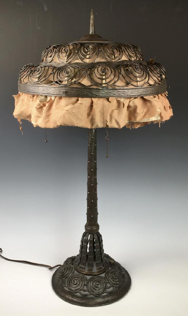 Art Deco Iron Table Lamp C. 1930