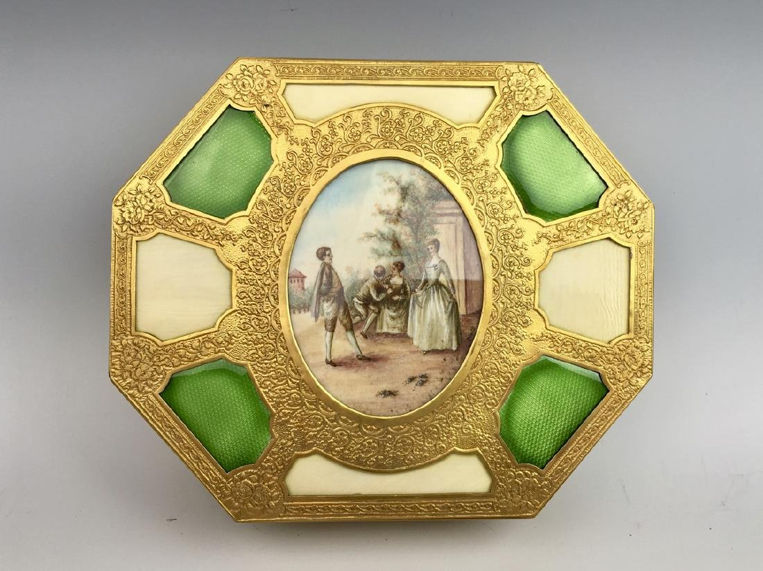French Bronze Ormolu Box with Enamel & Miniature