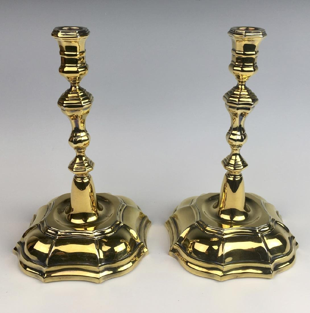 Tiffany & Co. Pair Danish Gilt Silver Candlesticks