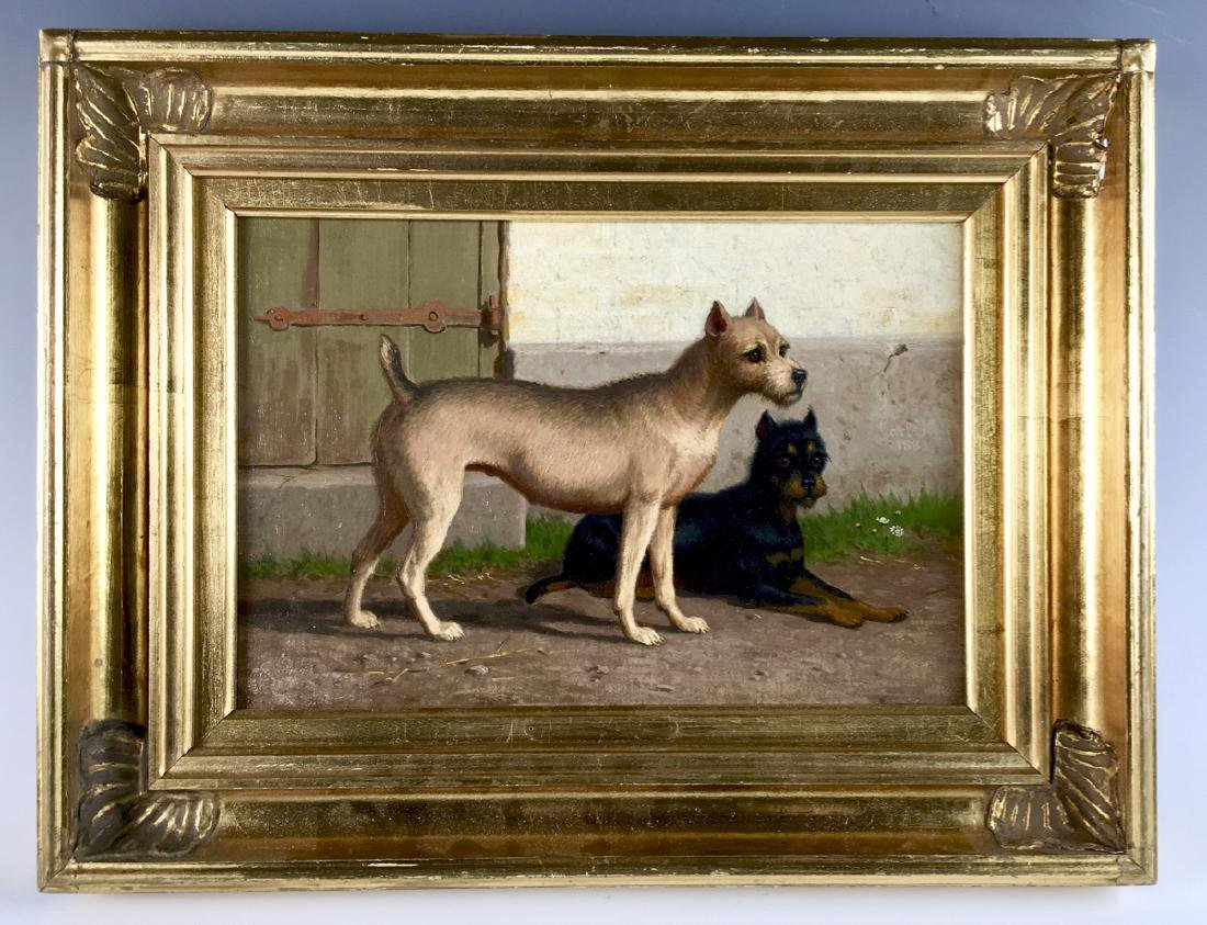 """""""Two Terriers in Yard"""" Sgd. Carl H. Bogh 1883"""