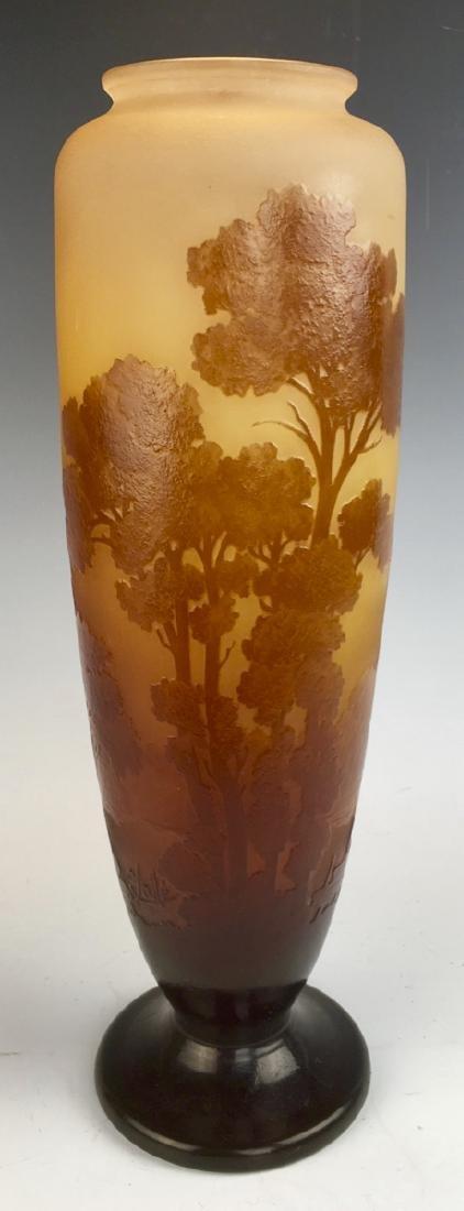 Tall Galle Cameo Glass Landscape Vase Circa 1900