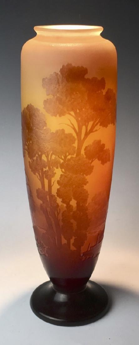 Tall Galle Cameo Glass Landscape Vase Circa 1900 - 2