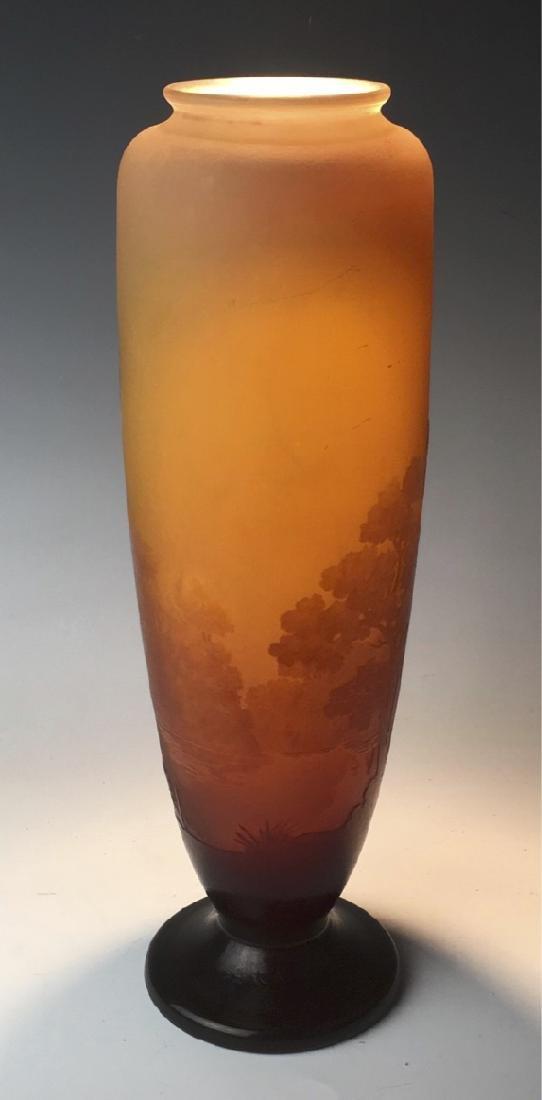 Tall Galle Cameo Glass Landscape Vase Circa 1900 - 4
