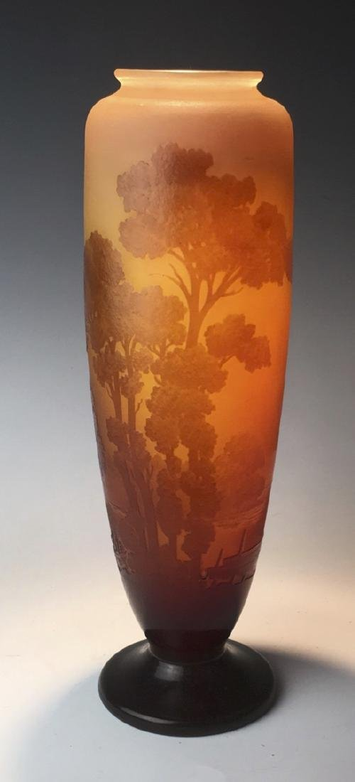 Tall Galle Cameo Glass Landscape Vase Circa 1900 - 6