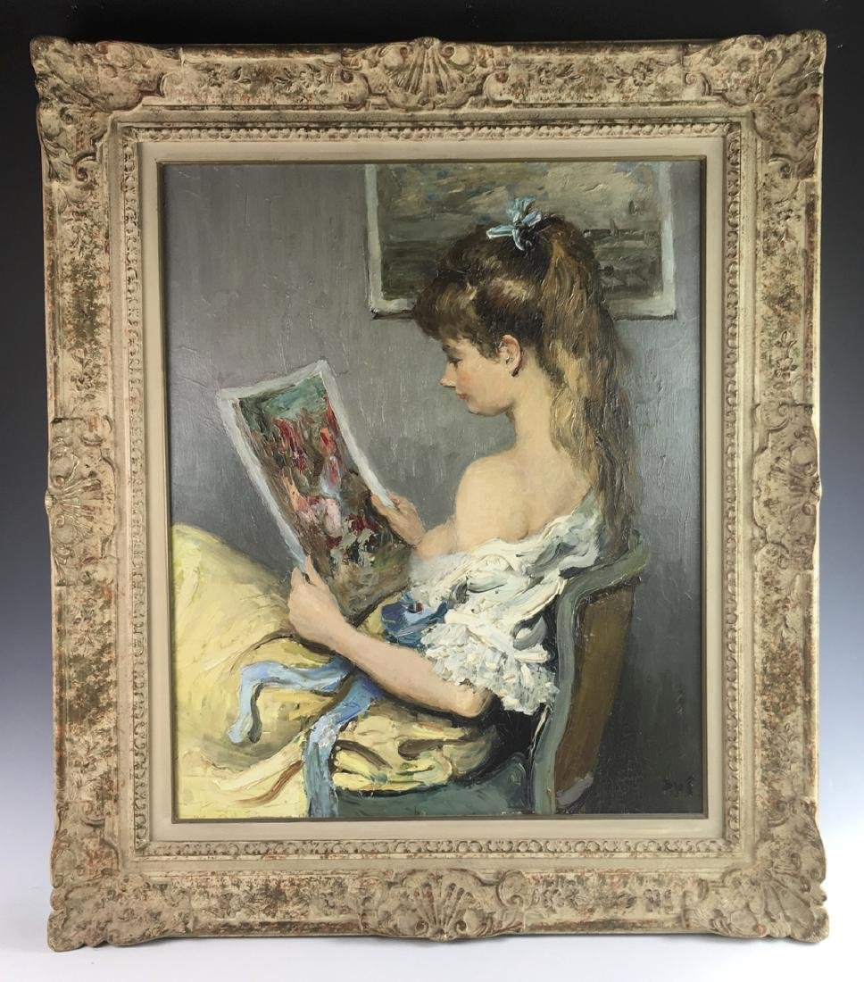 "Marcel Dyf Painting ""Claudine with the Print"""
