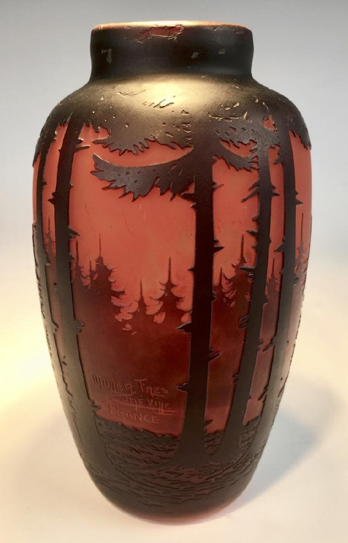 "Muller ""Forest"" Cameo Glass Vase"