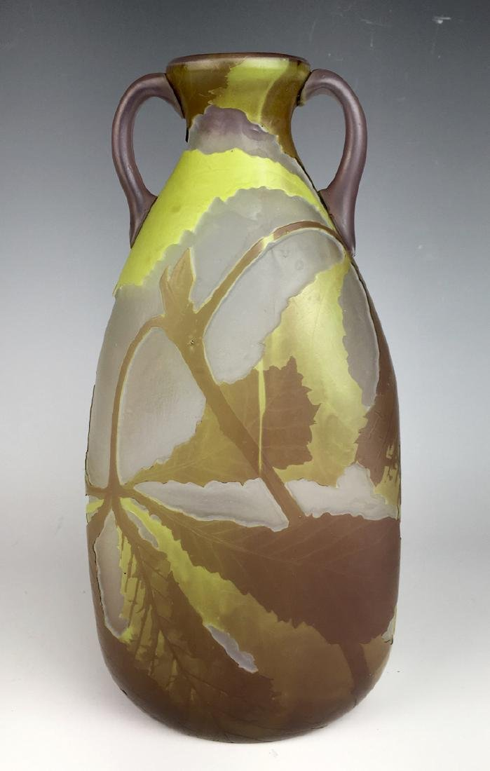 Large LeGras French Cameo Art Glass Vase