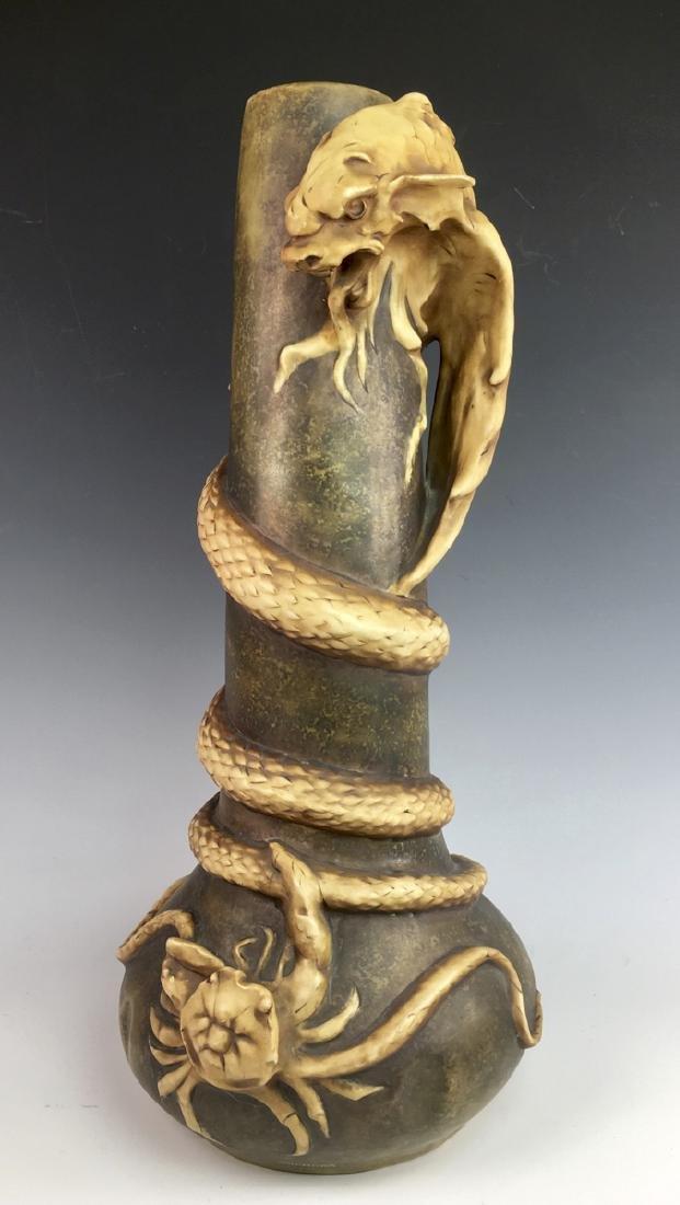 Monumental Amphora Monster & Crab Vase C. 1890