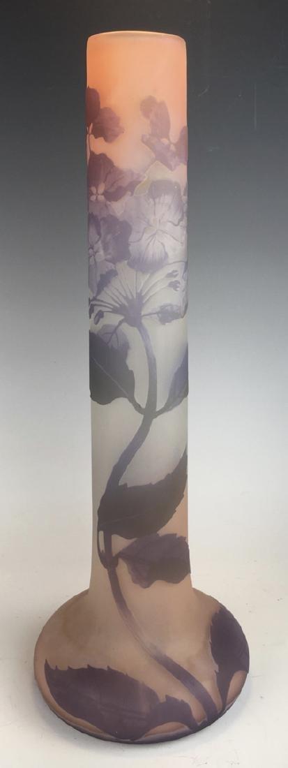 Tall Galle Cameo Hortensias Vase Circa 1900