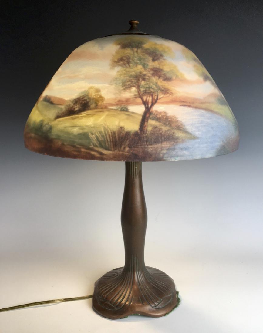 Moe Bridges Reverse Painted Scenic Lamp