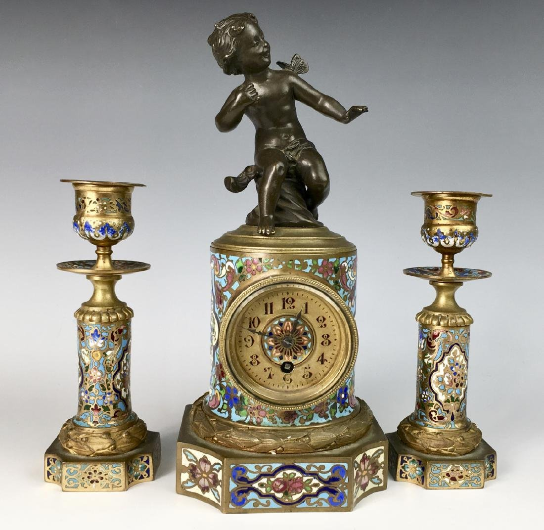 French Champleve Enamel & Figural Bronze Clock