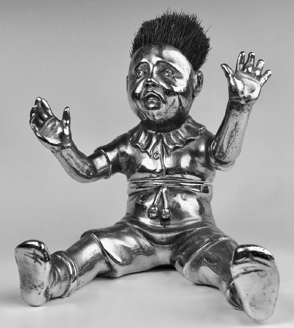Crying Baby Bronze Inkwell & Pen Wipe