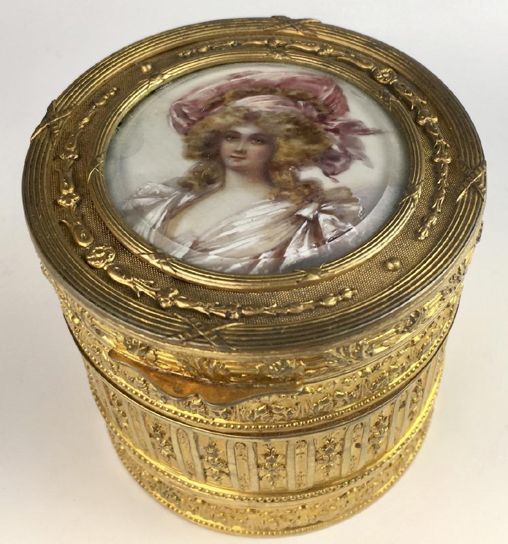 Antique Gilt Bronze Cylindrical Dresser Box