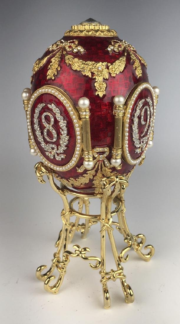 Russian Faberge Style Red Enamel Egg Frame
