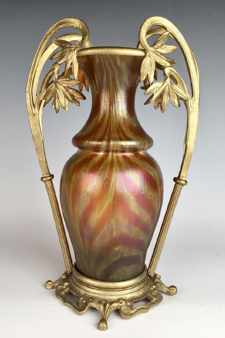 Loetz Kralik & Bronze Vase C. 1900