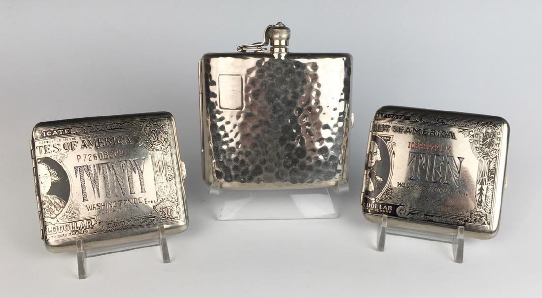 3 Vintage Silverplate Cigarette Cases C. 1940's