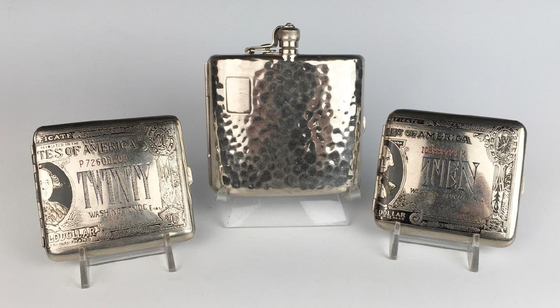 3 Vintage Silverplate Cigarette Cases C. 1940's