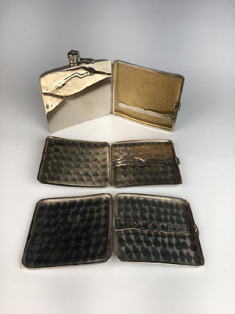3 Vintage Silverplate Cigarette Cases C. 1940's - 3