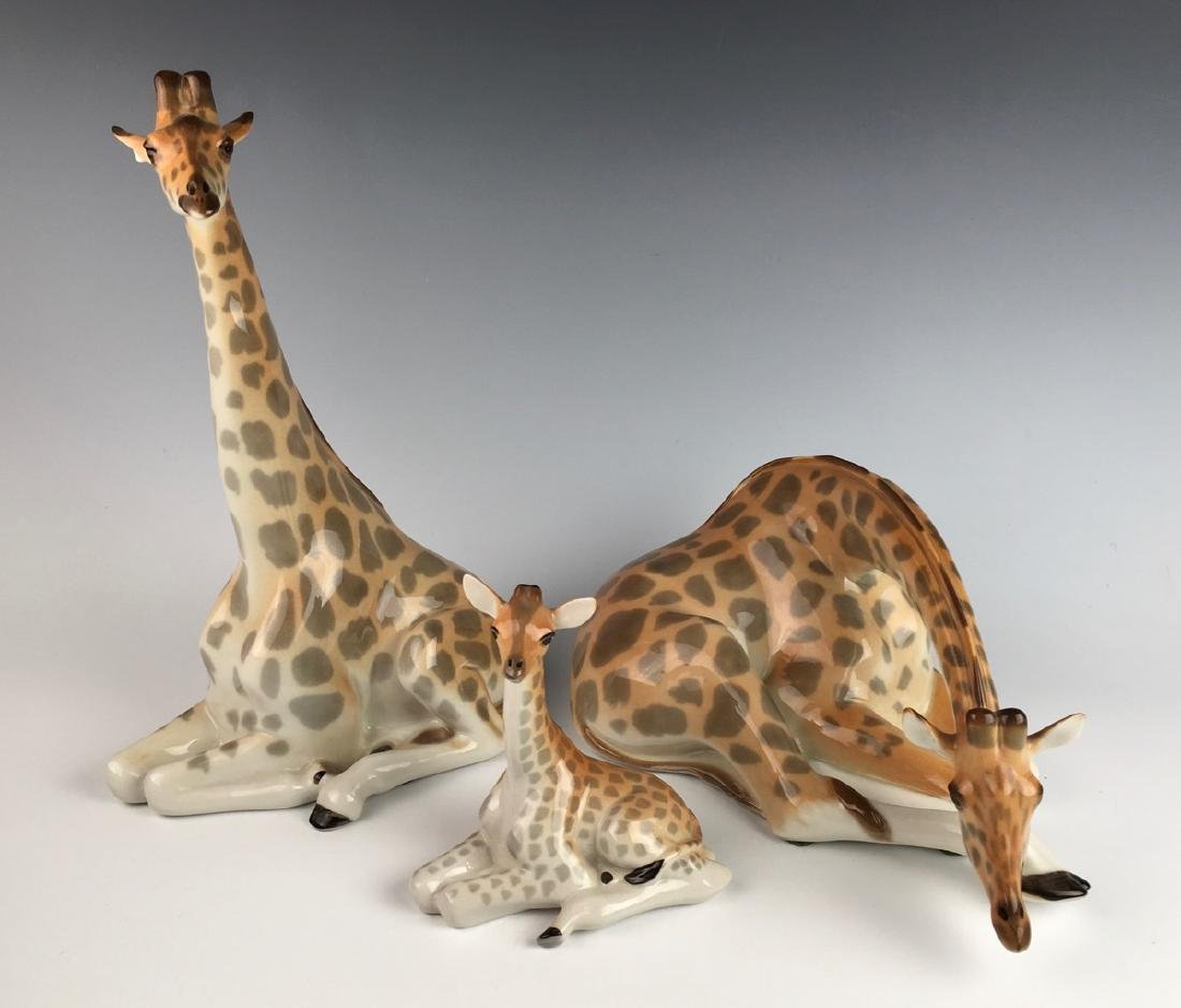 Set of 3 Russian Lomonsov Porcelain Giraffes
