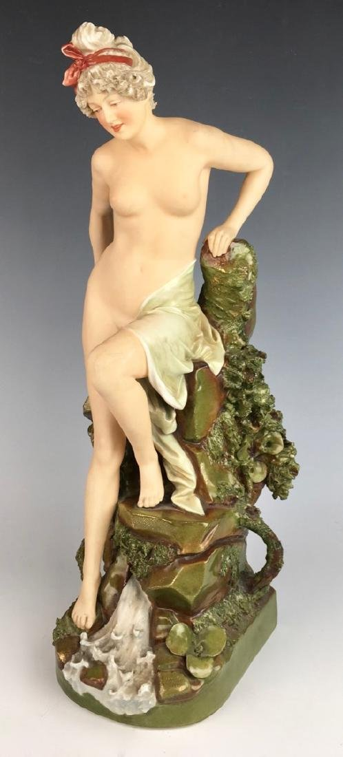 "Royal Dux ""Nude Descending Rocks"" Vase"