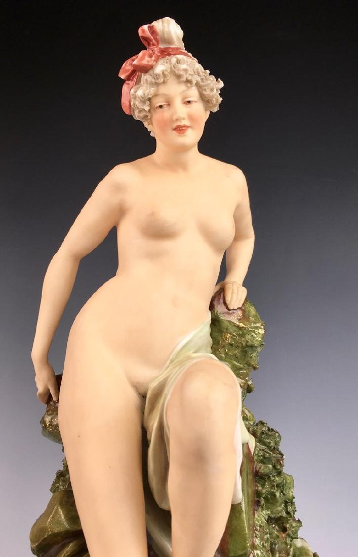 "Royal Dux ""Nude Descending Rocks"" Vase - 5"