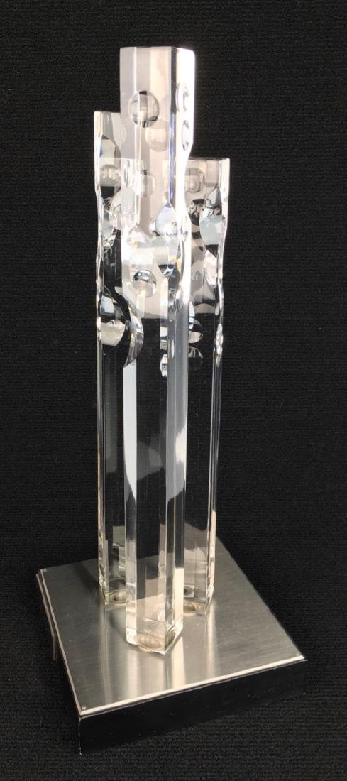 "Orrefors ""Metropolis 1/73"" Modern Glass Sculpture - 2"