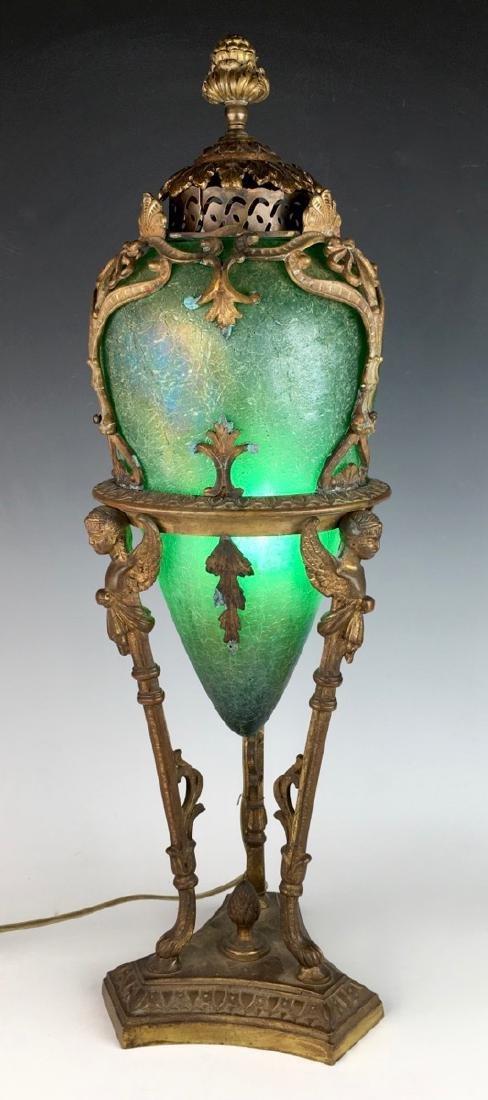 Gilt Metal Mounted Austrian Green Glass Lamp