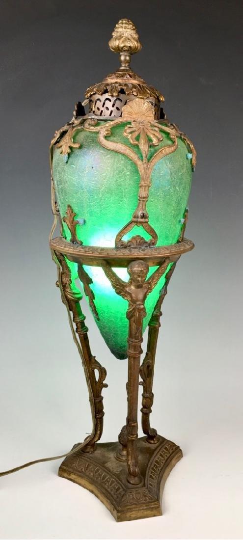 Gilt Metal Mounted Austrian Green Glass Lamp - 2