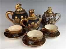 Thousand Faces Satsuma Part Tea Set Meiji Period