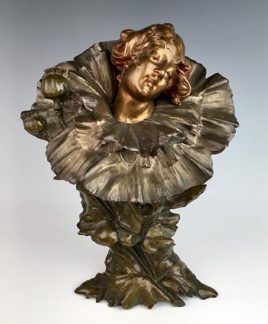 """""""Poppy Girl"""" Art Nouveau Bronze Bust"""