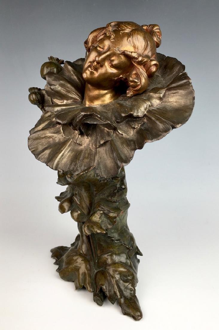 """""""Poppy Girl"""" Art Nouveau Bronze Bust - 2"""