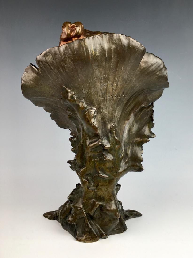 """""""Poppy Girl"""" Art Nouveau Bronze Bust - 3"""