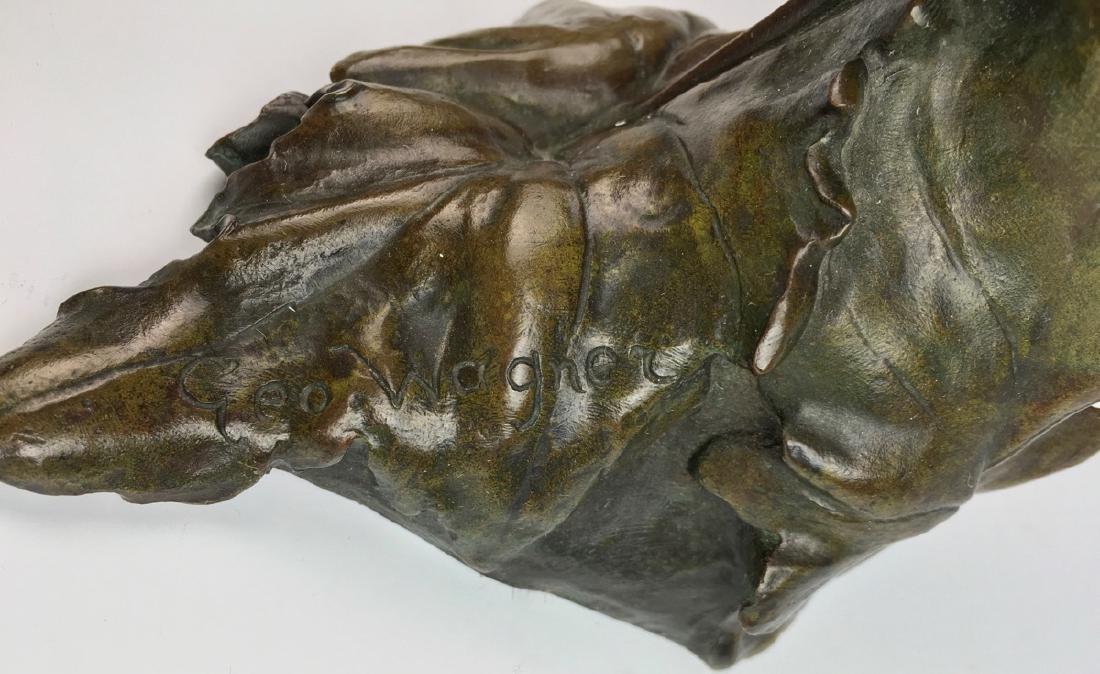 """""""Poppy Girl"""" Art Nouveau Bronze Bust - 5"""