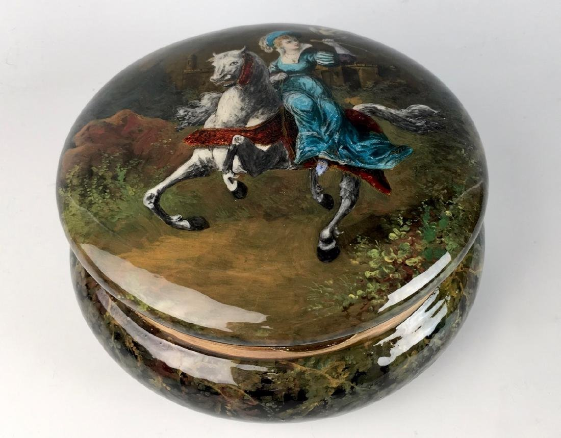 Large Antique Limoges Enamel Scenic Box - 2