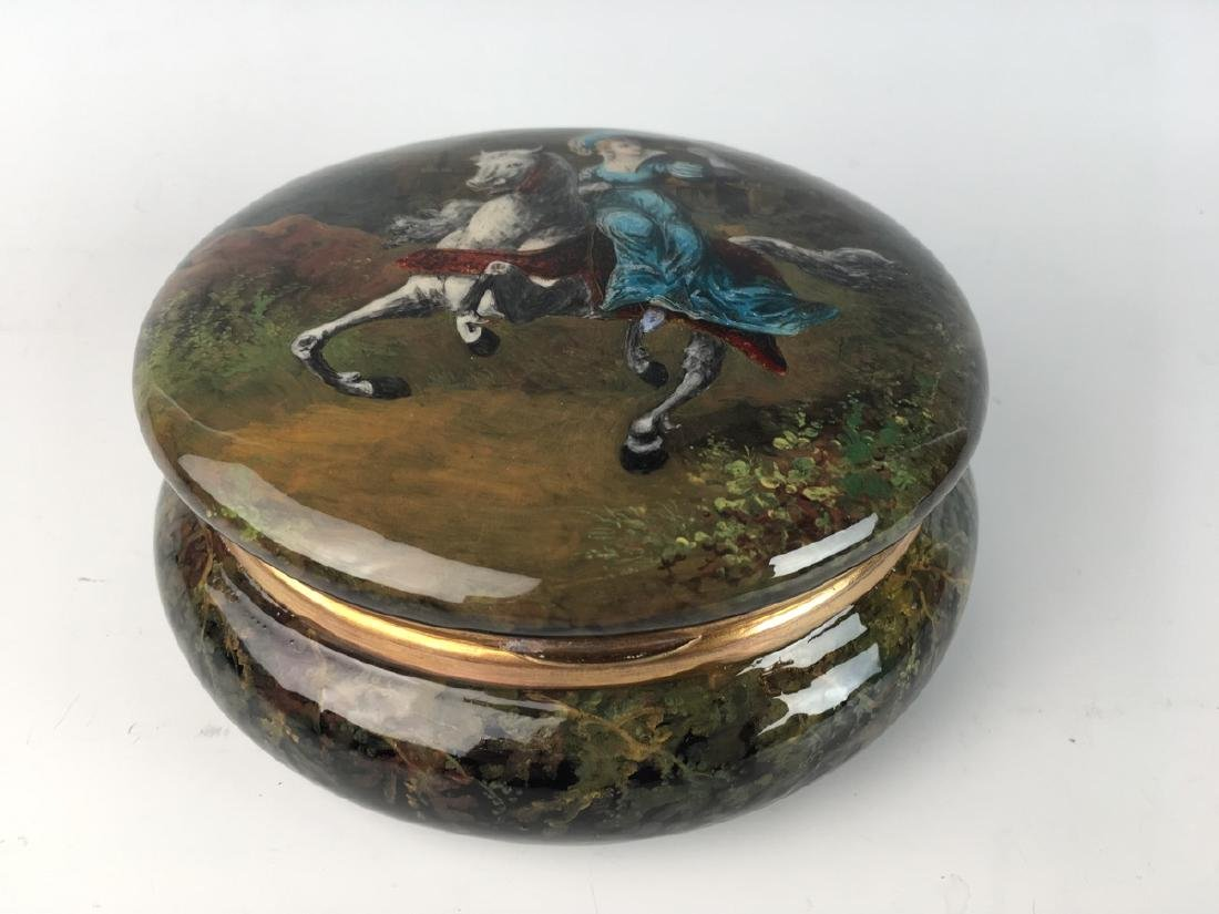 Large Antique Limoges Enamel Scenic Box - 3