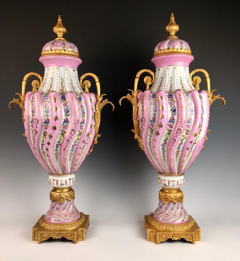 """Louis XV """"Sevres"""" Porcelain Lidded Urns"""