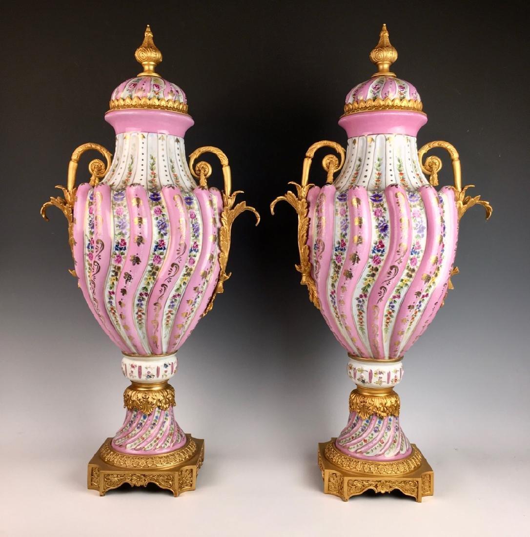 """Louis XV """"Sevres"""" Porcelain Lidded Urns - 2"""