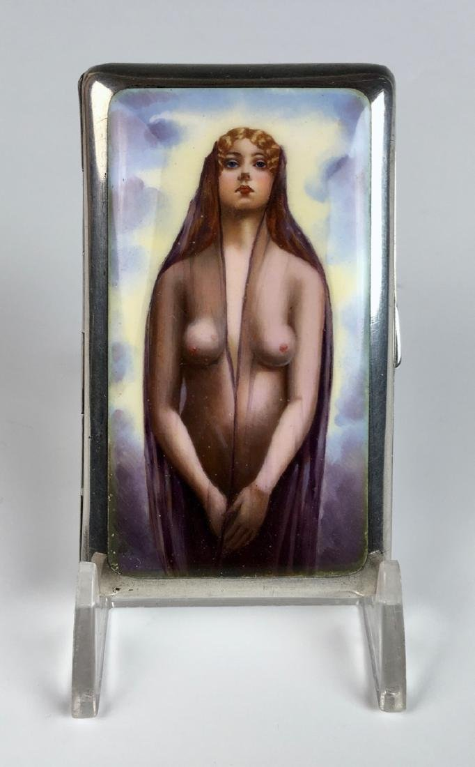 Erotic Sterling and Enamel Nude Cigarette Case