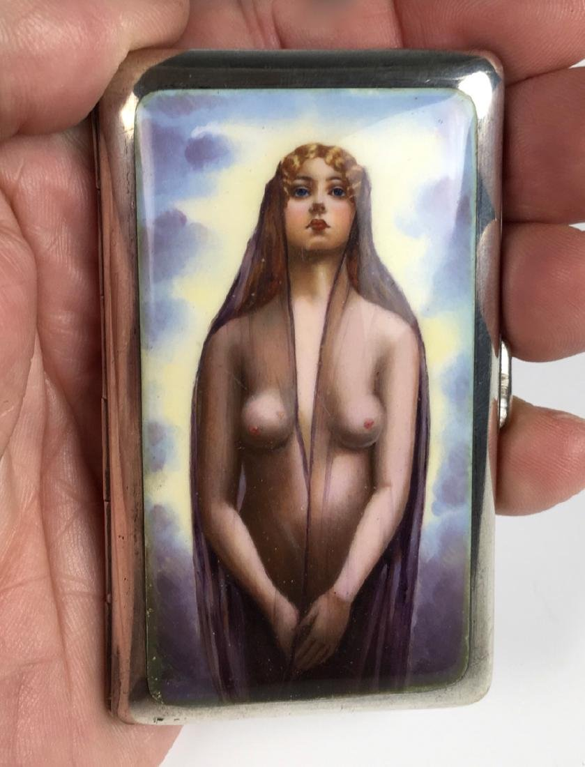 Erotic Sterling and Enamel Nude Cigarette Case - 6